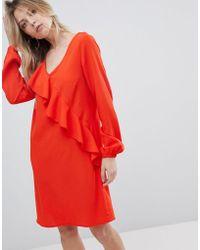Vila - Ruffle Panel Dress - Lyst