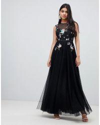 Little Mistress - Floral Embellished Bodice Maxi Dress In Black - Lyst