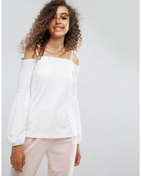 ASOS - Top In Crepe With Off Shoulder And Pretty Bell Sleeve - Lyst