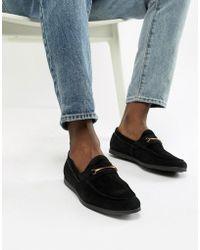 8c8a2566428 ALDO - Frelacia Suede Metal Bar Loafers In Black - Lyst