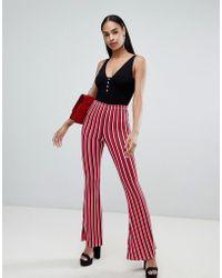 PrettyLittleThing - Stripe Flare Trousers - Lyst