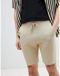 ASOS - Design Jersey Skinny Shorts In Beige - Lyst