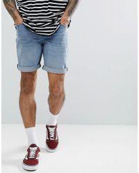 ASOS DESIGN - Denim Shorts In Slim Mid Wash - Lyst