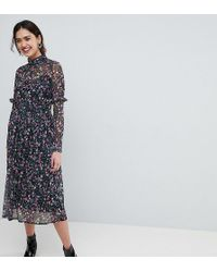 ASOS - Mesh Ditsy Print Midi Dress With High Neck - Lyst