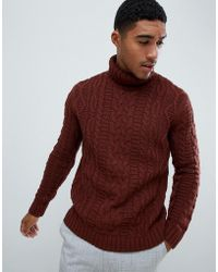 ASOS - Heavyweight Cable Knit Roll Neck Jumper In Brown - Lyst