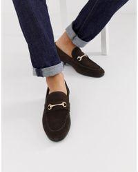 ASOS Suède Loafers Met Gouden Trens In Bruin