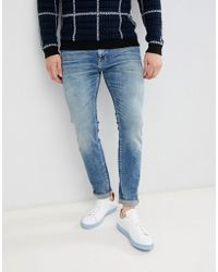 SELECTED - Slim Fit Mid Blue Wash Jeans - Lyst