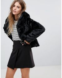 Urban Bliss | Hooded Faux Fur Jacket With Pom Poms | Lyst