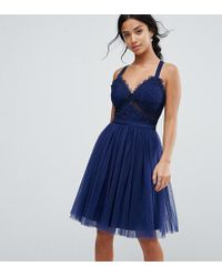 e48af2a48d Chi Chi London Tulle Midi Dress With Lace Detail in Blue - Lyst