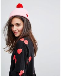 Lazy Oaf - Pink Heart Beanie - Lyst