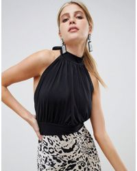 ASOS - Gathered Halter Neck Top With Open Back - Lyst