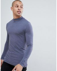 ASOS - Muscle Fit Long Sleeve T-shirt With Turtle Neck In Blue - Lyst
