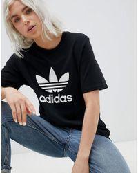 b30b348714f adidas Originals - Originals Adicolor Trefoil Oversized T-shirt In Black -  Lyst