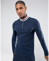 ASOS - Asos Muscle Fit Long Sleeve T-shirt With Retro Stripe Rib And Zip Neck - Lyst