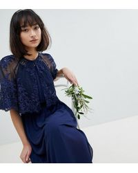 TFNC London Lace Embroidered Cape Cover Up - Blue
