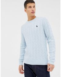 Abercrombie & Fitch - Icon Logo Cable Knit Jumper In Light Blue - Lyst