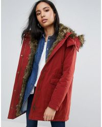 Pepe Jeans - Polly Faux Fur Lined Parka Coat - Lyst