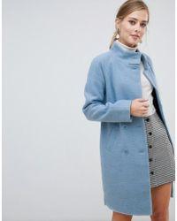 39259ee49aba Oasis - Funnel Neck Coat In Blue - Lyst