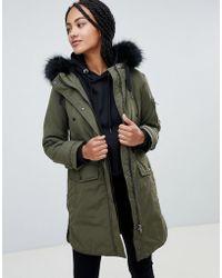 Esprit - Faux Fur Hood Contrast Detail Parka - Lyst