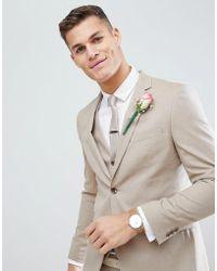 Moss Bros - Moss London Skinny Wedding Suit Jacket In Latte - Lyst