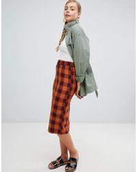 Monki - Checked Tailored Midi Skirt - Lyst