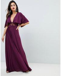 ASOS DESIGN - Asos Cape Pleated Lace Insert Maxi Dress - Lyst
