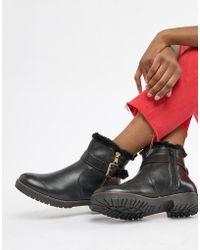 Carvela Kurt Geiger - Leather Faux Fur Lined Flat Boots - Lyst
