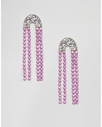 ASOS DESIGN - Earrings With Jewel Strands And Glitter - Lyst