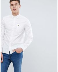 51a033b95 Lyle & Scott Button Down Short Sleeve Oxford Shirt In Pale Pink in ...