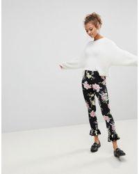 ASOS - Legging With Fluted Hem In Dark Floral Print - Lyst