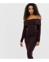 a9c2fdb89265 Boohoo Exclusive Button Detail Tux Dress In Plum in White - Lyst