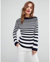 Warehouse - Graduated Stripe Shoulder Button Sweater - Lyst