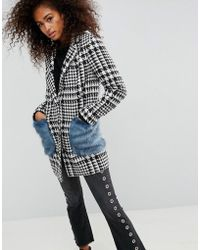 ASOS - Coat In Check With Faux Fur Pockets - Lyst