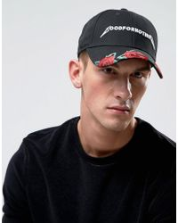 Good For Nothing - Baseball Cap In Black With Embroidered Roses - Lyst