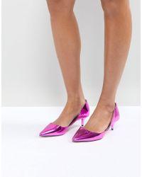 ALDO - Adylia Kitten Heel Pointed Shoe In Pink - Lyst