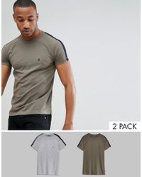 French Connection - Contrast Shoulder Stripe T-shirt - Lyst