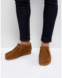 Clarks - Wallabee Lace Up Shoes In Cola Suede - Lyst