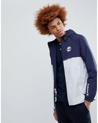 Timberland - Lightweight 2 Tone Hooded Shell Jacket In Blue/navy - Lyst