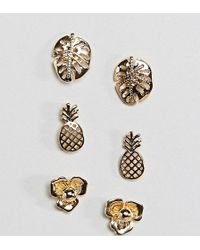 ASOS - Design Pack Of 3 Palm Leaf And Pineapple Stud Earrings - Lyst