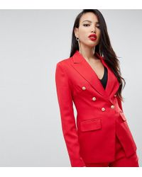 Missguided Exclusive Tall Military Blazer In Red