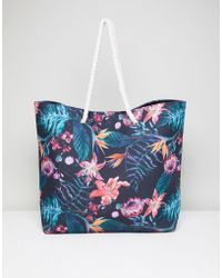 South Beach | Tropical Floral Beach Bag | Lyst