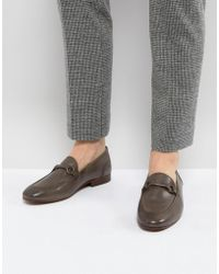 H by Hudson | H London Renzo Leather Loafers In Grey | Lyst