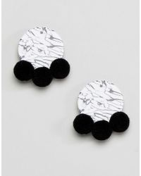 ASOS - Design Mono Resin Pom Pom Earrings - Lyst