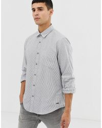 Esprit - Slim Fit Oxford Shirt With Mini Stripe In Navy - Lyst