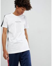 Criminal Damage - T-shirt In White With Side Stripe - Lyst