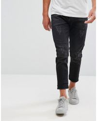 SELECTED - + Jeans In Tapered Fit With Cropped Leg And Distressing - Lyst