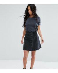 Noisy May Petite - Button Through Denim Skirt - Lyst