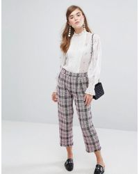 Sister Jane - Cropped Trousers In Tweed Check - Lyst
