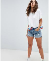 Levi's - Levi's 501 Longer Line Short With Rips In Midwash - Lyst