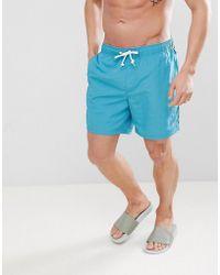 Original Penguin - Swim Shorts Slim Fit Small Logo In Teal Blue - Lyst